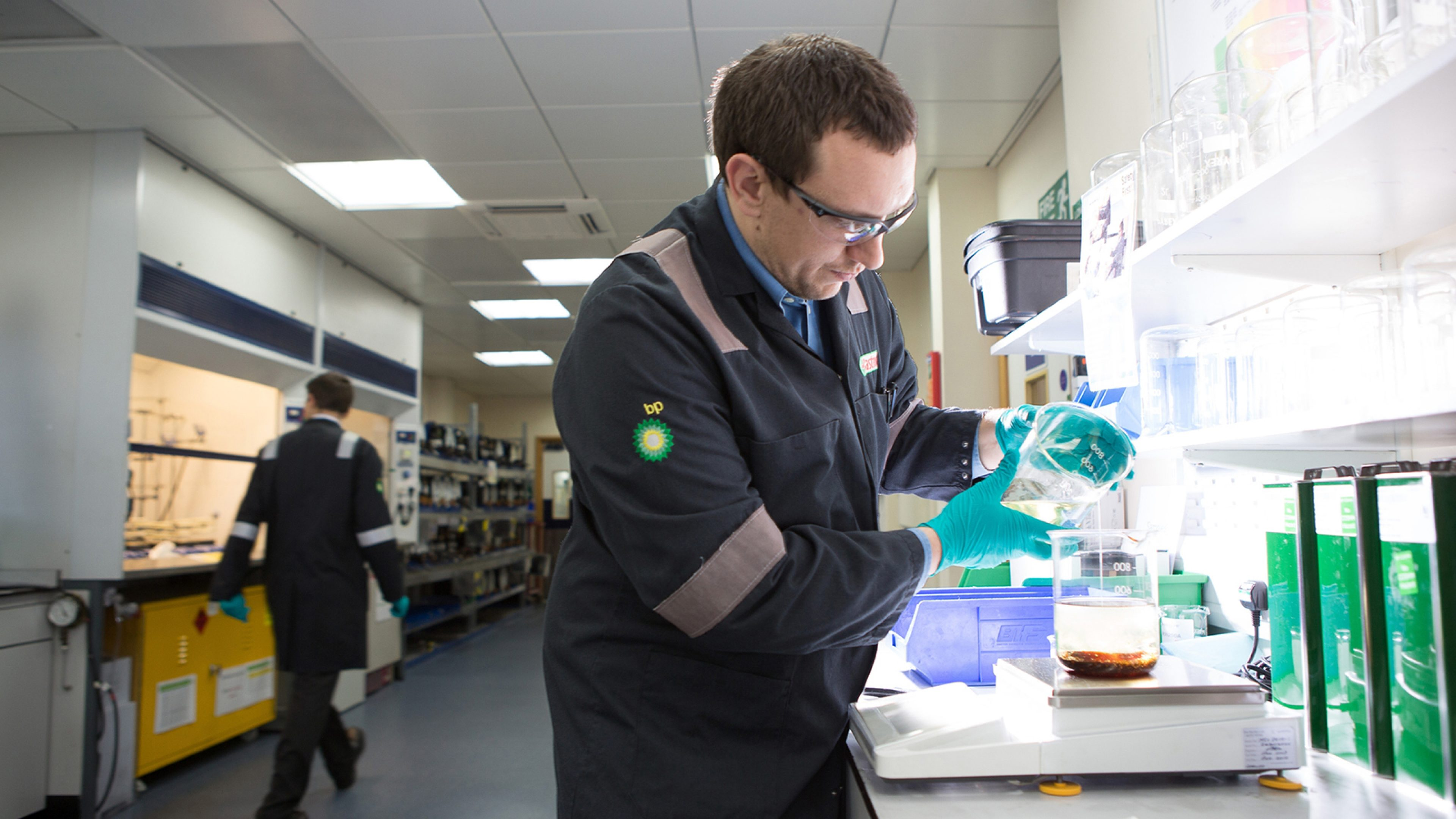 Technician analyzing samples in laboratory