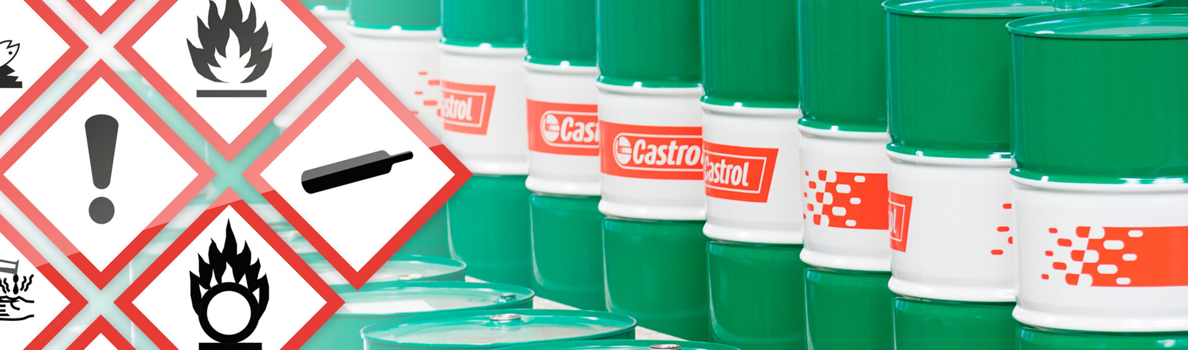 Castrol drums and safety labels