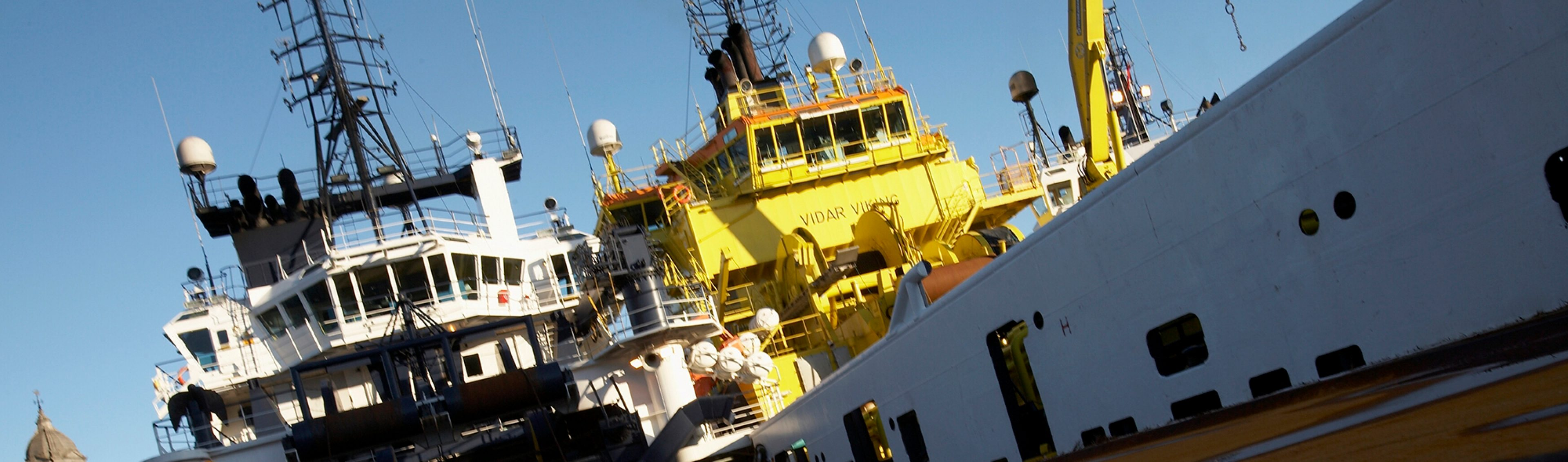A view from the deck onboard a supply vessel at Aberdeen port, Scotland.