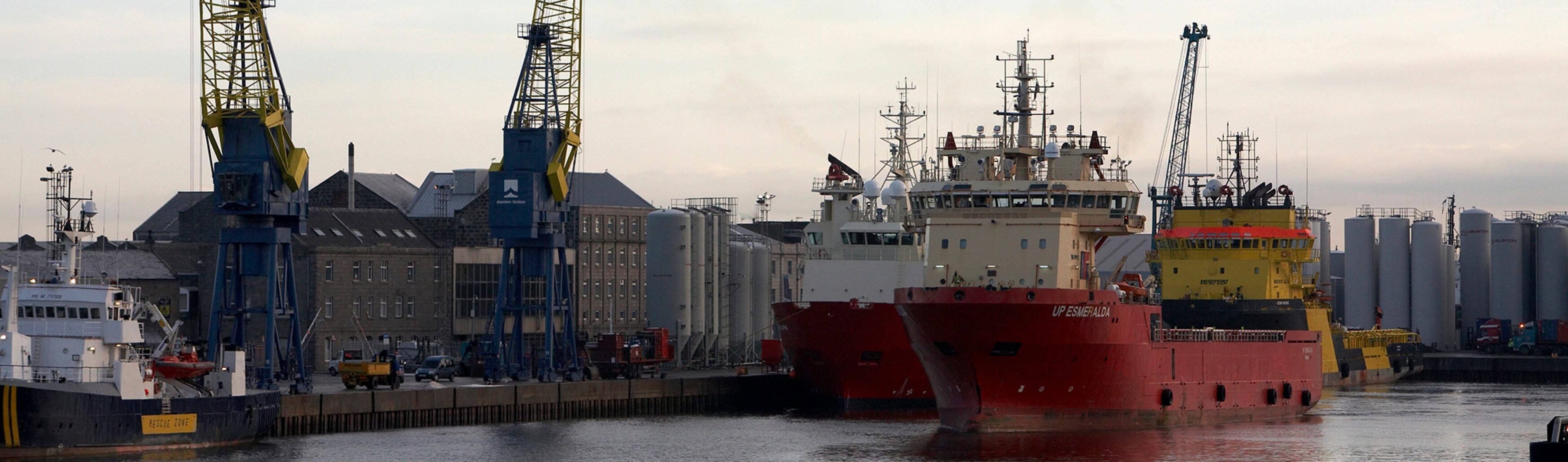 Aberdeen port with two supply vessels in the foreground, Aberdeen Scotland.
