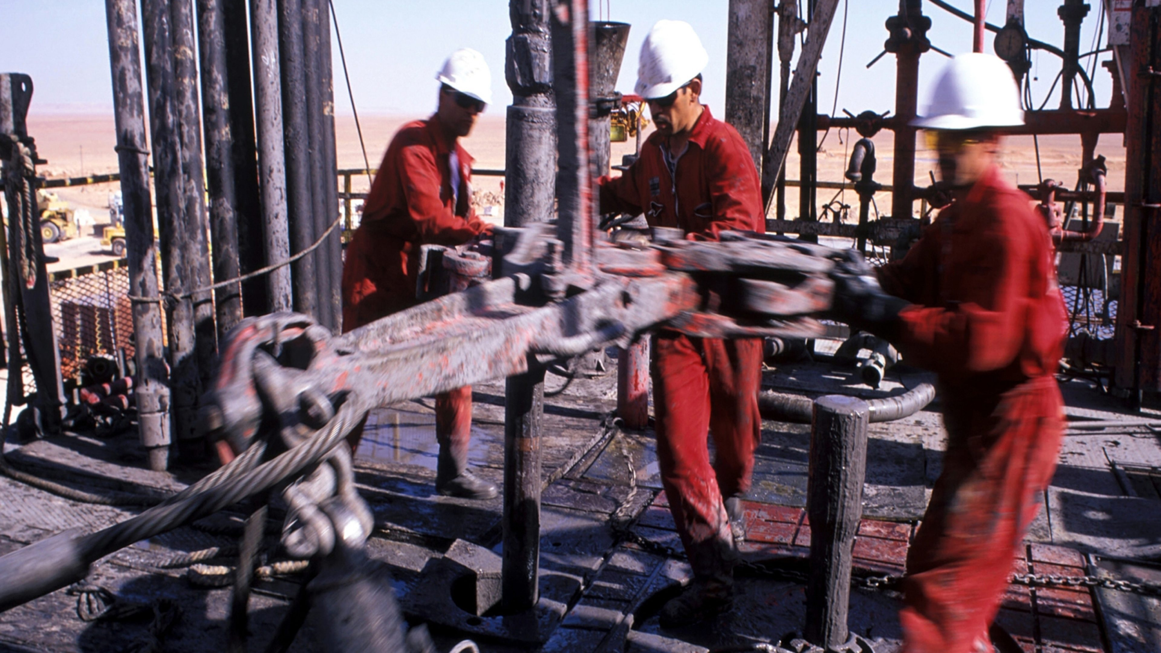 Drillers work on drill floor