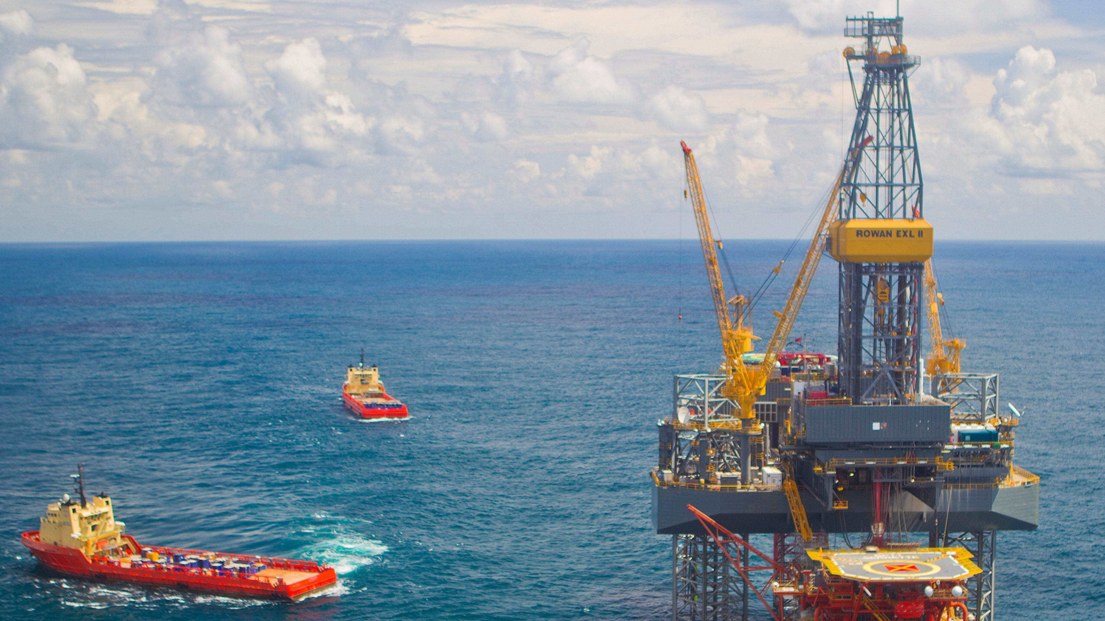 Drill rig and support vessels