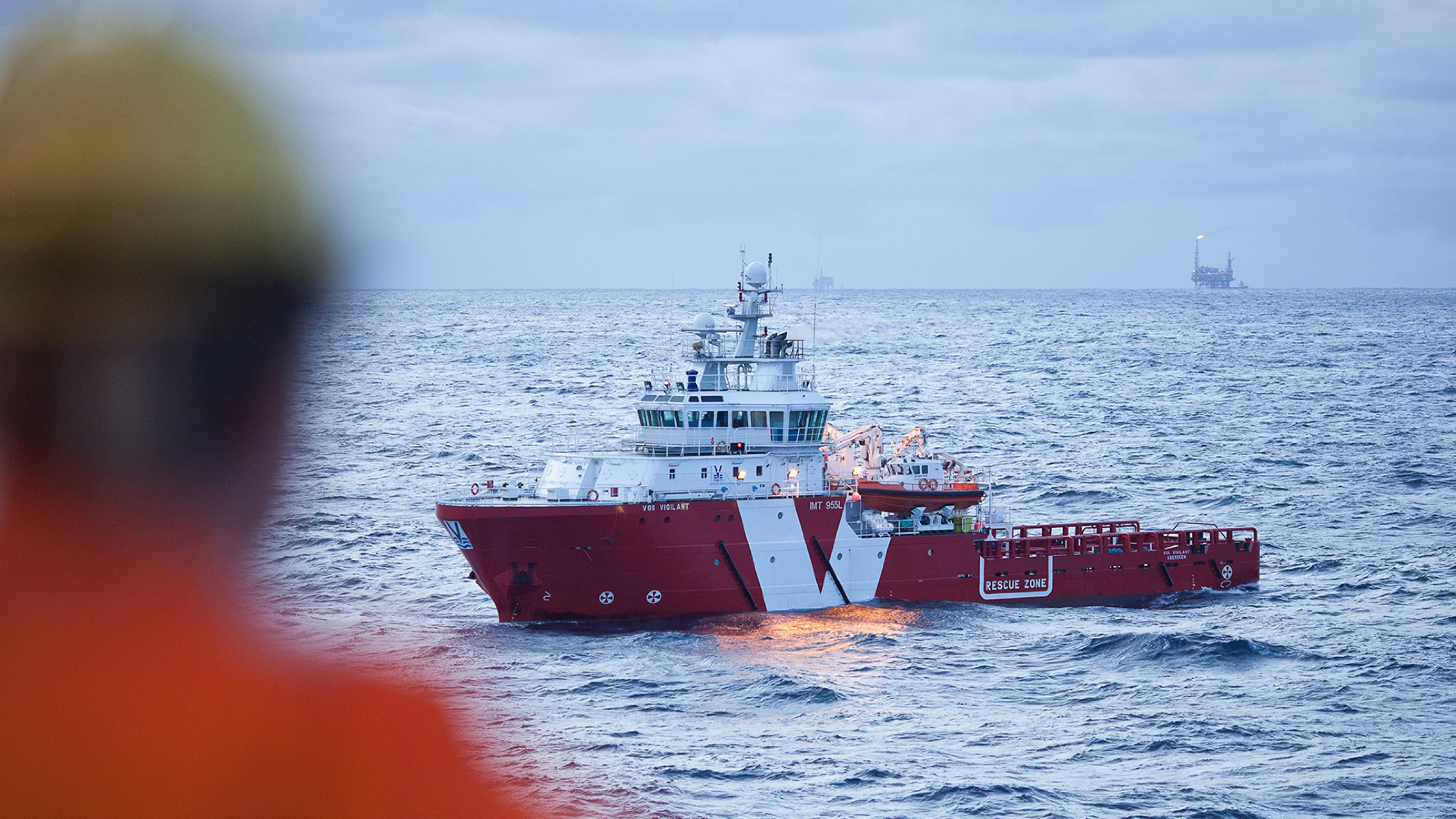 A rescue vessel at sea
