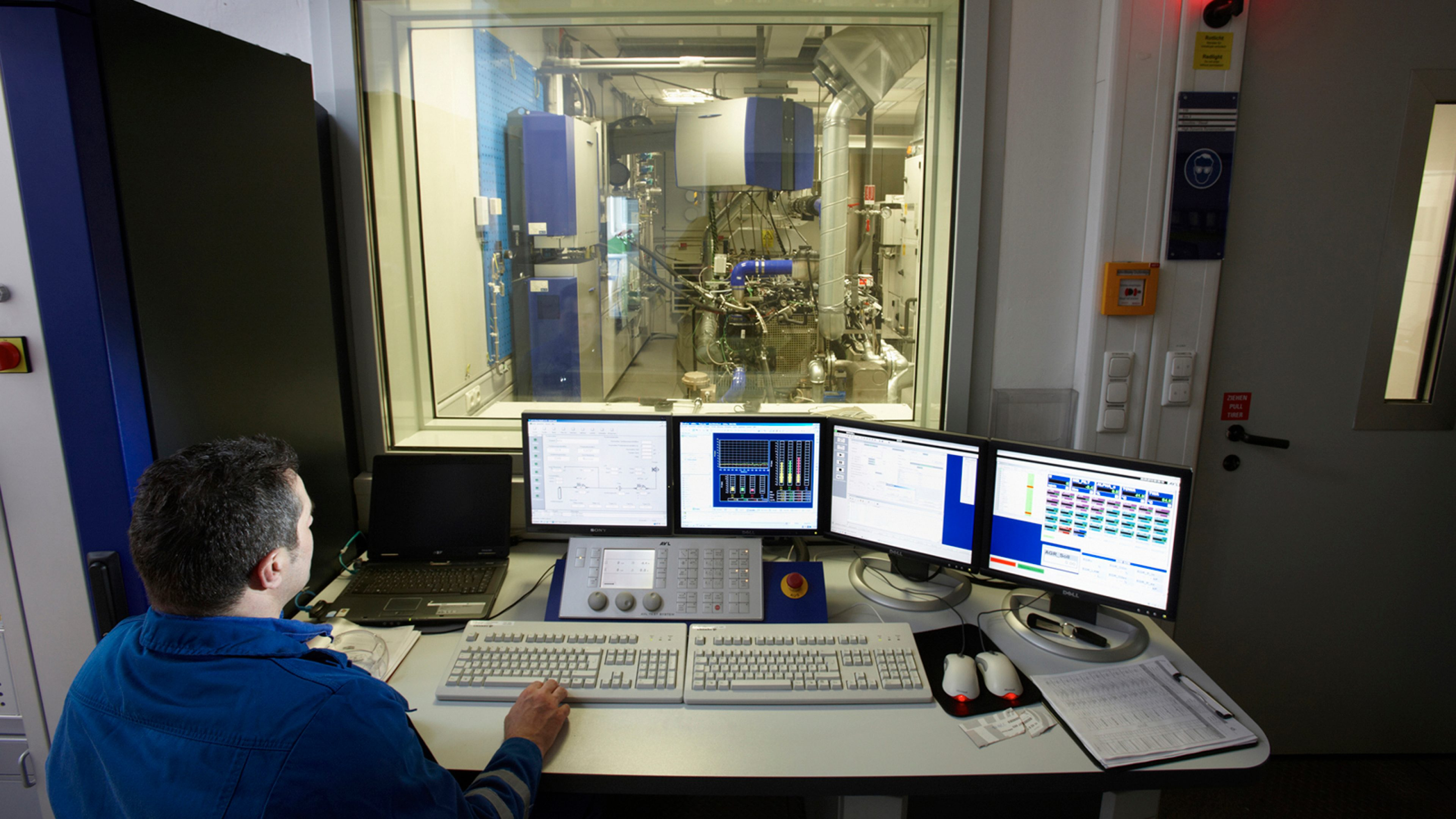 Technician performing computerized analysis