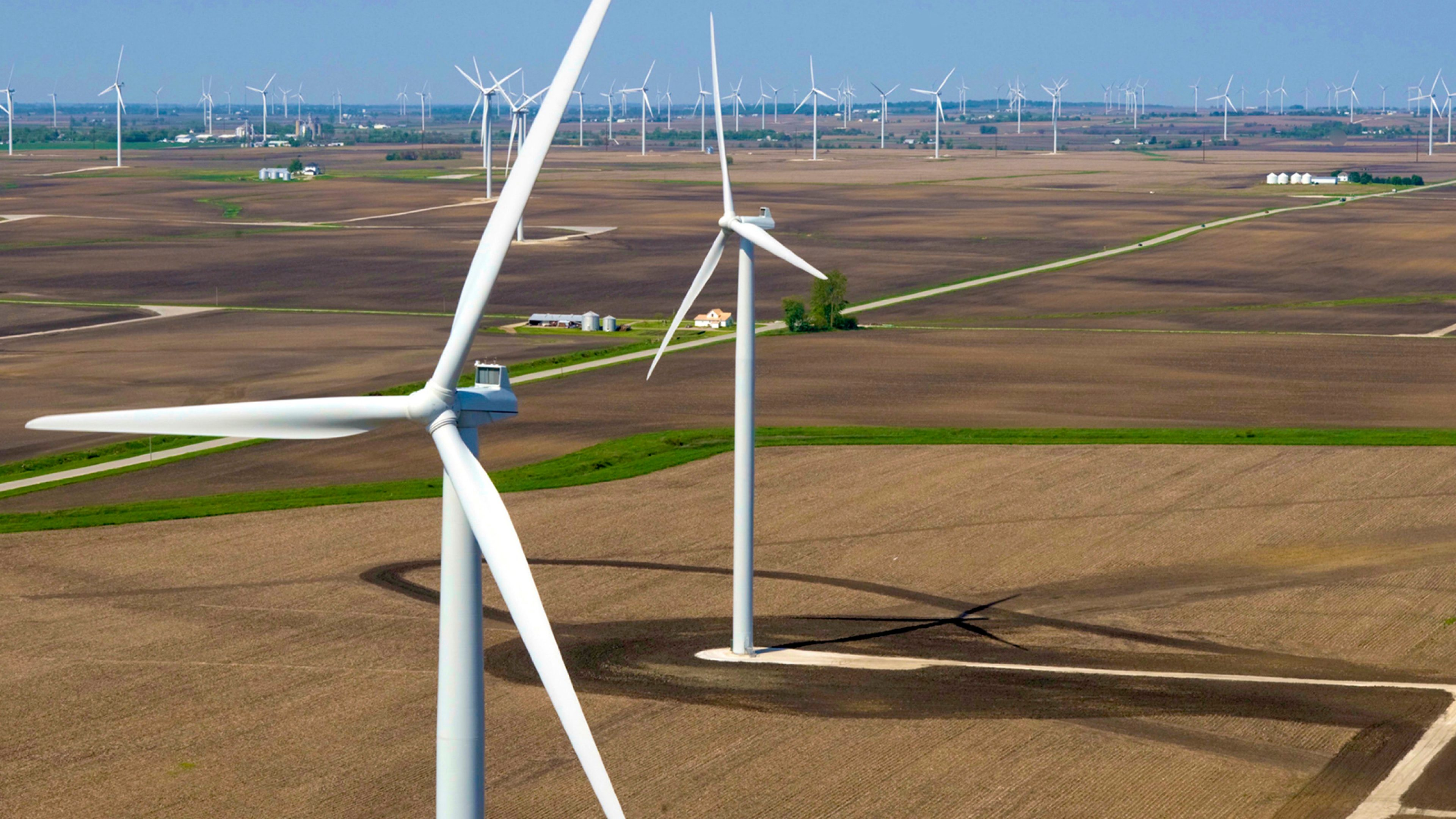 Panoramic view of wind turbines