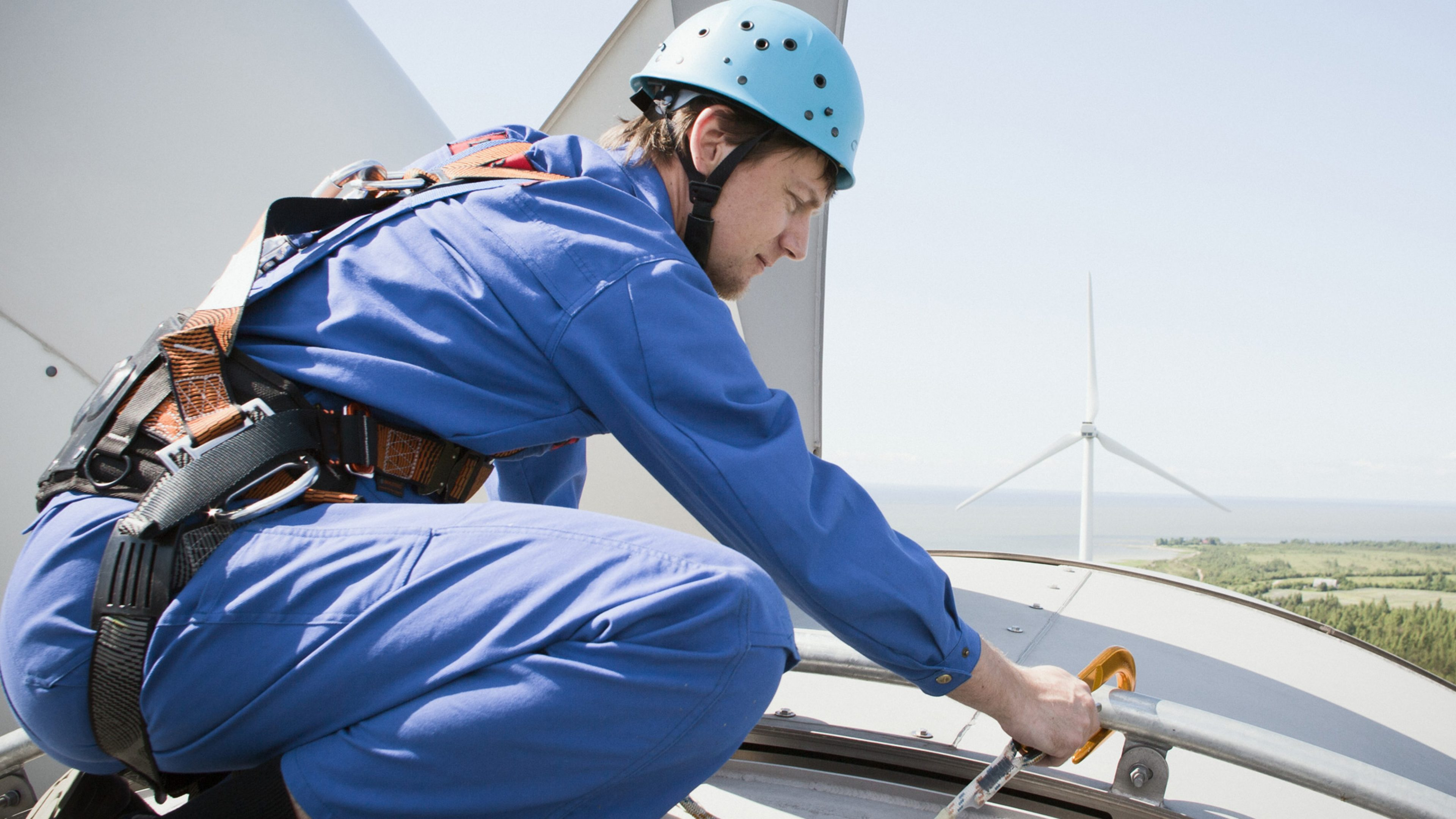 Engineer working on wind turbines