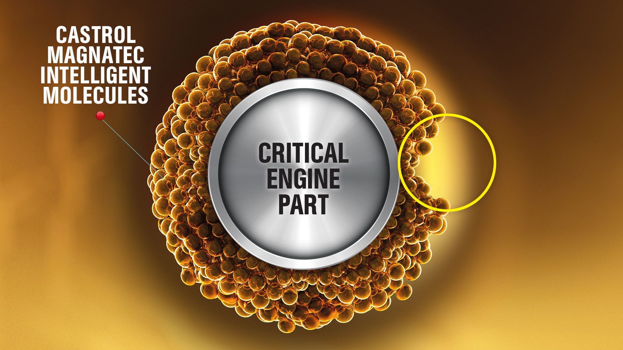 Castrol MAGNATEC STOP-START molecules on an engine part